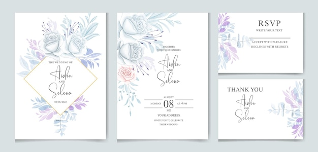 Satz aquarellhochzeitseinladungskartenschablone mit blauer rose und blättern