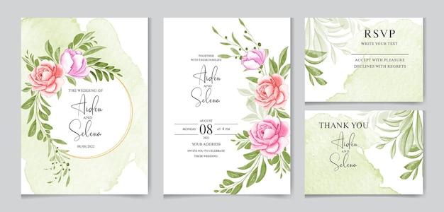 Satz aquarellhochzeitseinladungskartenschablone mit weicher rosa rose und grünen blättern