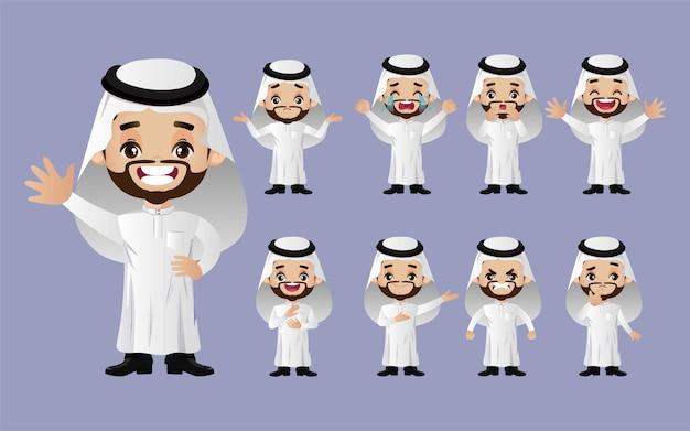 Satz arabische geschäftsleute mit verschiedenen emotionen