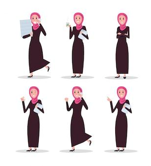 Satz arabischer frauencharakter des geschäfts mit hijab