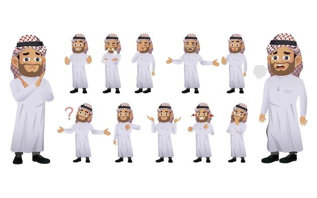 Satz arabischer leute mit verschiedenen emotionen
