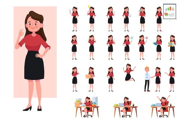 Satz arbeitende geschäftsfrau. geschäftsfrau in flachen designleutencharakteren.