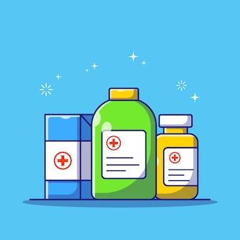 Satz arzneimittelbox und -flasche auf blauem hintergrund für flache karikaturillustration der medikamentenberatung