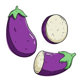 Satz auberginenillustration mit farbigem handzeichenstil