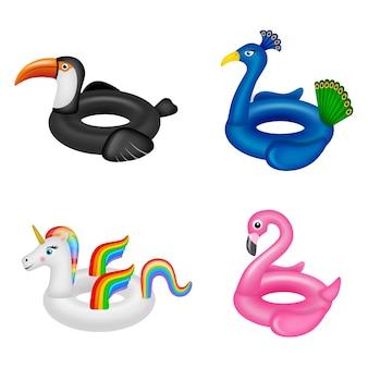 Satz aufblasbares sommerspielzeug isolierte schwimmringe in form von tieren