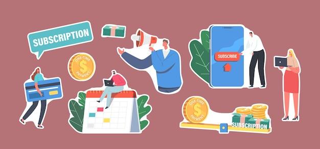 Satz aufkleber-abonnement-geschäftsmodell-thema. winzige charaktere mit riesiger bankkarte, smartphone mit abonnieren-taste, mann arbeitet am laptop, der auf kalender sitzt. cartoon-menschen-vektor-illustration