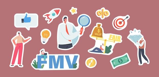 Satz aufkleber fair value market, fmv. geschäftsleute und geschäftsfrauen charaktere mit lupenglas, brillant und waage, wertbalance und fair im geschäft. cartoon-menschen-vektor-illustration