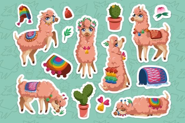 Satz aufkleber mit lamas und alpakas
