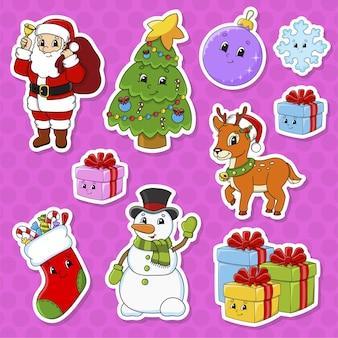 Satz aufkleber mit niedlichen zeichentrickfiguren. weihnachtsthema.