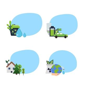 Satz aufkleber mit platz für text mit flachen ikonen der ökologie