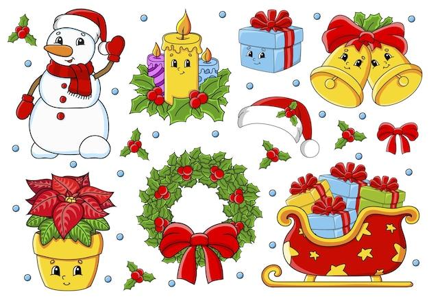 Satz aufkleber mit weihnachtsmotiv der niedlichen zeichentrickfiguren Premium Vektoren
