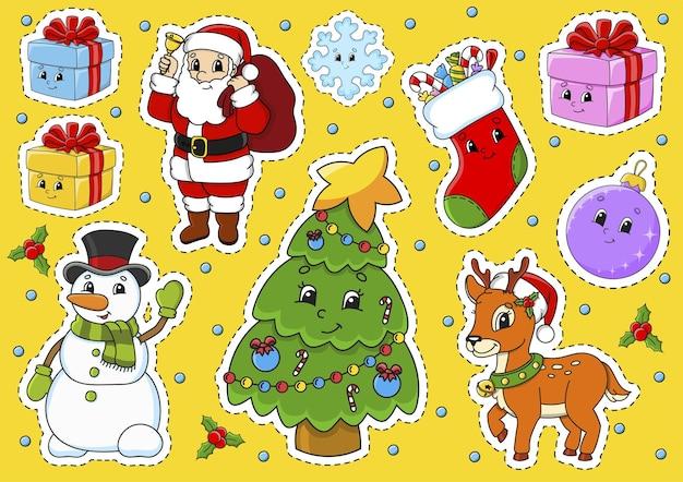 Satz aufkleber mit weihnachtsmotiv der niedlichen zeichentrickfiguren