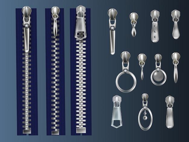 Satz aus metall, geschlossene reißverschlüsse auf blauem gewebeband und stahlziehvorrichtungen mit verschiedenen ösen