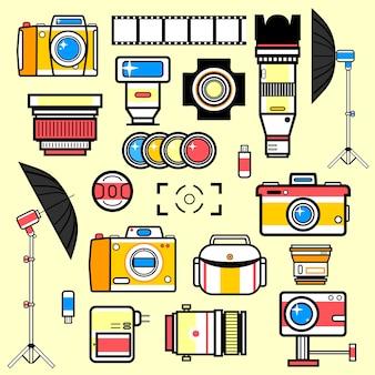 Satz ausrüstung für fotostudio.