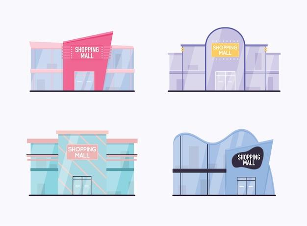 Satz außeneinrichtung des einkaufszentrums.