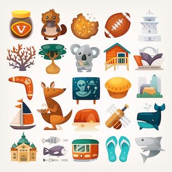 Satz australische reiseikonen. symbole des kontinents. verschiedene sehenswürdigkeiten und berühmte elemente aus allen teilen der insel.