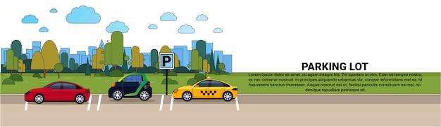 Satz autos auf stadt-parkplatz über schattenbild-gebäude-hintergrund-horizontaler fahne