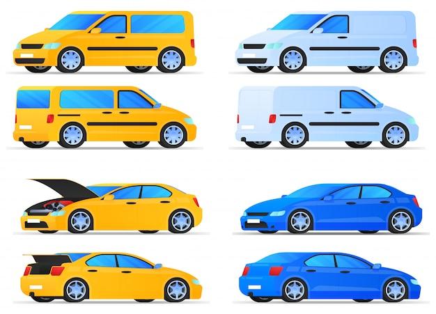 Satz autos und lieferwagen
