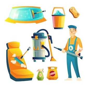 Satz Autowaschservice mit Zeichentrickfilm-Figur. Automobilservice mit Kerl für das Säubern