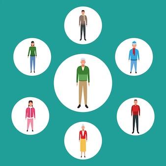 Satz avatar-leute, die stehen und freizeitkleidung tragen