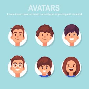 Satz avatare mit männlichen und weiblichen gesichtern. porträt von mann und frau mit lächeln. gruppe von geschäftsfiguren. flaches design