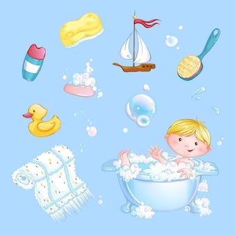 Satz baby-badeaufkleber. der junge badet in einer badewanne und einem satz badzubehör. cartoon kinder charakter.