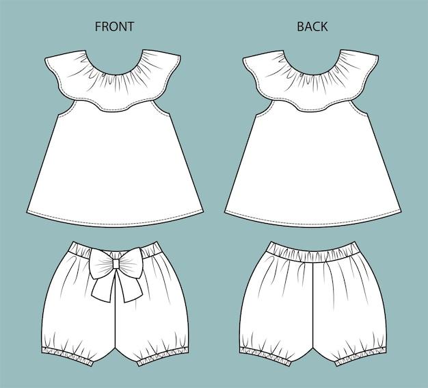 Satz babykleidung vorne und hinten babykleidung isoliert