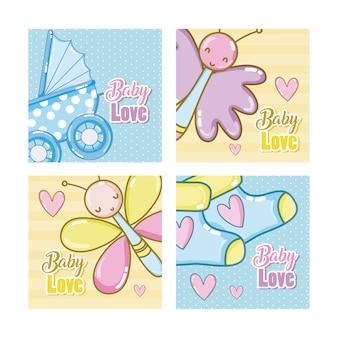 Satz babyliebes-karikaturkarten
