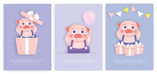 Satz babypartykarten und geburtstagskarten mit niedlichem schwein.