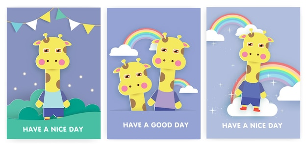 Satz babypartykarten und geburtstagskarten mit niedlicher giraffe.