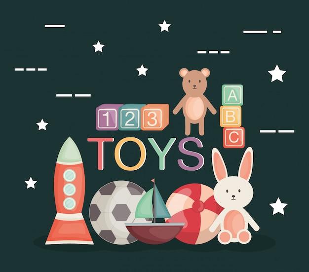 Satz babyspielwaren unterhalten ikonen
