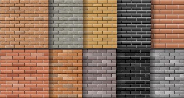 Satz backsteinmauer textur hintergrund. moderne realistische ziegeloberflächen in verschiedenen farben.