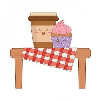 Satz bäckereilebensmittel kawaii im picknicktisch
