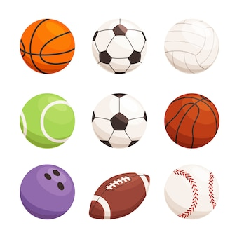 Satz bälle für verschiedene sportarten. sportgeräte für fußball, basketball, handball. moderne sportikonen. auf einem weißen hintergrund isoliert.