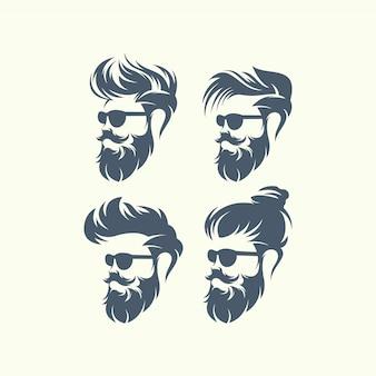 Satz bärtige männer des vektors stellt hippies mit verschiedenen haarschnitten, schnurrbärte, bärte gegenüber.