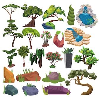 Satz bäume und sträucher. sammlung von landschaftsgestaltungselementen. illustration von pflanzen.