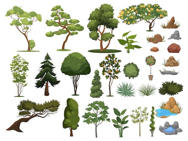 Satz bäume und sträucher. sammlung von landschaftsgestaltungselementen. illustration.