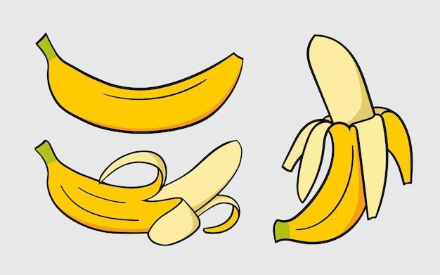 Satz bananenhandzeichnungsillustration