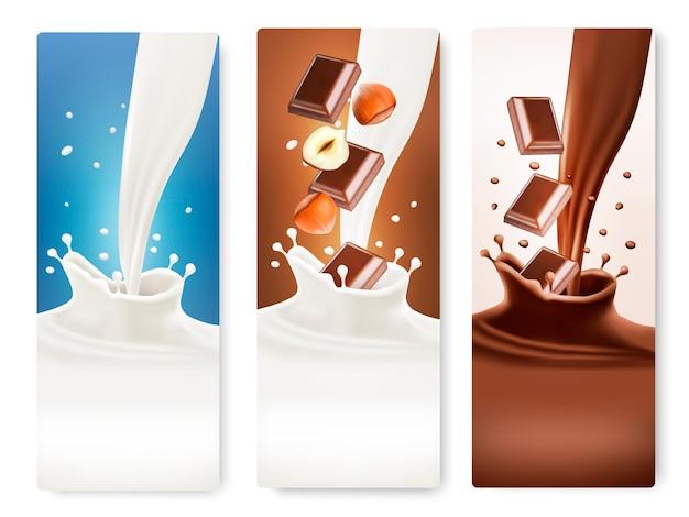 Satz banner mit schokoladen- und milchspritzern. vektor.