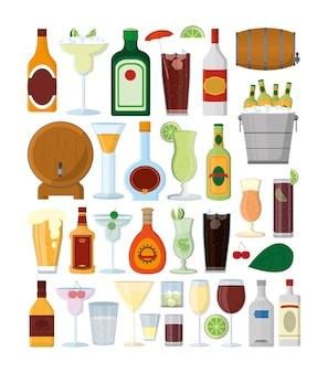 Satz bar trinkt sammlung