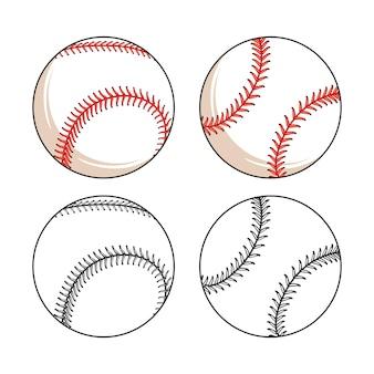Satz baseball lederball verschiedene seiten Premium Vektoren