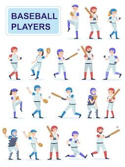 Satz baseballspieler an der klassischen uniform.