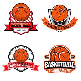 Satz basketballetiketten und -logos und -elemente für basketballmannschaften, turniere, meisterschaften auf weißem hintergrund. gestaltungselement in.