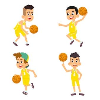 Satz basketballspieler für jungenkinder