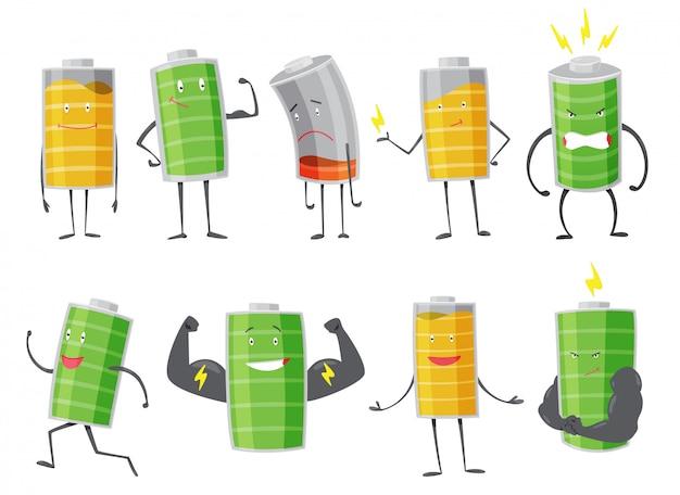 Satz batteriemann stehend, lächelnd, traurig oder rennend. voll aufgeladener grüner akku. niedrige gelbe und rote anzeige. element alternativer energie. cartoon-symbol