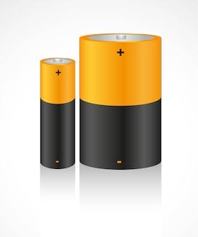 Satz batterien lokalisiert auf weißem hintergrund