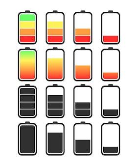 Satz batterien mit unterschiedlichen ladezuständen.