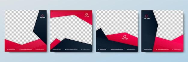 Satz bearbeitbare minimale quadratische bannervorlage. rote und schwarze hintergrundfarbe mit streifenlinienform. geeignet für social-media-posts und web-internet-anzeigen. vektorillustration mit fotocollege