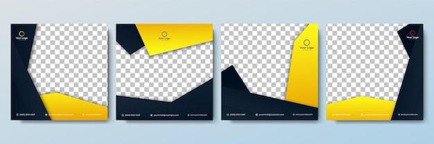 Satz bearbeitbare minimale quadratische bannervorlage. schwarze und gelbe hintergrundfarbe mit streifenlinienform. geeignet für social-media-posts und web-internet-anzeigen. vektorillustration mit fotocollege