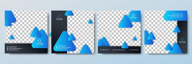 Satz bearbeitbare quadratische banner-vorlage. minimalistische hintergrundfarbe mit streifenlinienform. geeignet für social-media-posts und web-internet-anzeigen. vektorillustration mit fotocollege